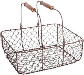 Kovový úložný košík s 2 drevenými úchytmi Antic Line