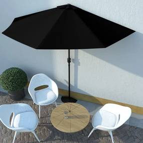 vidaXL Balkónový slnečník, hliníková tyč,čierny 300x150x253cm, polkruh
