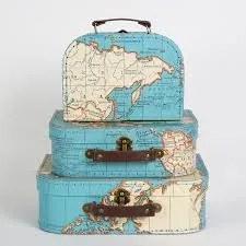 Kartónový kufrík s motívom mapy - stredný