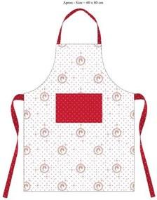 Kuchyňská zástěra 60*80 cm, Elegant puntíky červené
