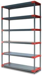 REGÁL PLASTOVÝ Tytan-6 222x140x46 PVC Povrchová úprava: Červená