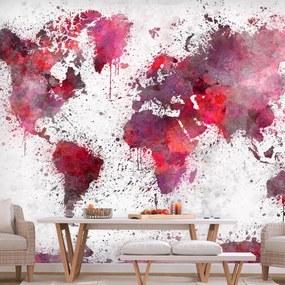 Fototapeta - World Map: Red Watercolors 200x140 + zadarmo lepidlo