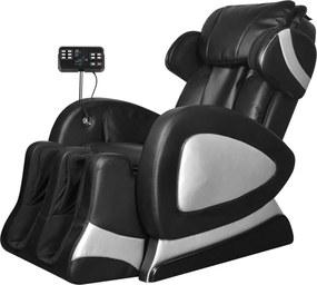 244301 Edco Elektrické masážne kreslo s ovládacím panelom, umelá koža, čierne