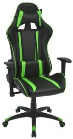 Sklápacie kancelárske kreslo, pretekársky dizajn, umelá koža, zelené