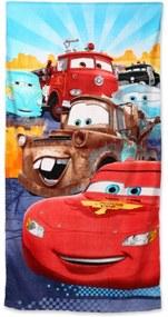 Setino · Plážová osuška - 100% bavlna - Autá - Cars - Blesk McQueen s  kamarátmi - 70 x 140 cm