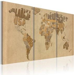 Obraz na plátne Bimago - The world map in beige and brown 120x60 cm