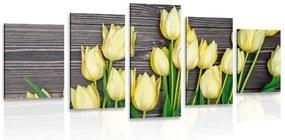 5-dielny obraz očarujúce žlté tulipány na drevenom podklade