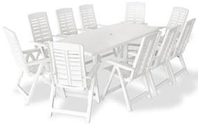 vidaXL 11-dielna vonkajšia jedálenská súprava biela plastová