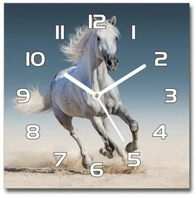 Sklenené hodiny štvorec Biely kôň v cvale pl_zsk_30x30_f_95257889
