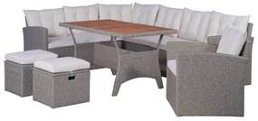vidaXL 6-dielna záhradná sedacia súprava s podložkami polyratan sivá