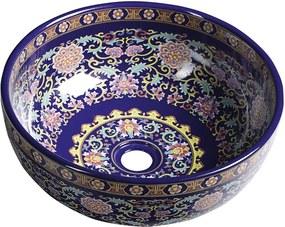 SAPHO - PRIORI keramické umývadlo, priemer 40,5cm, 15,5cm, fialová s ornamentami (PI022)
