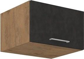 Horná skrinka výklopná 60 cm 01 - VISION - Bílá lesklá / Dub lancelot