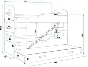 Poschodová posteľ s prístelkou DOMINIK 3 - 190x80cm Biely - Grafitový