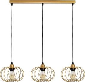 Závesná lampa Kula, 3-plameňová, zlatá