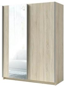 Sconto Šatníková skriňa so zrkadlom SPLIT dub sonoma, šírka 150 cm