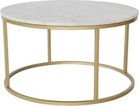 Mramorový konferenčný stolík s konštrukciou vo farbe mosadze RGE Accent, ⌀ 85 cm