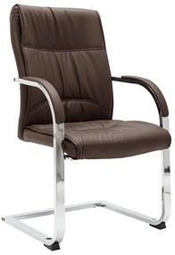 vidaXL Kancelárska stolička, perová kostra, hnedá, umelá koža