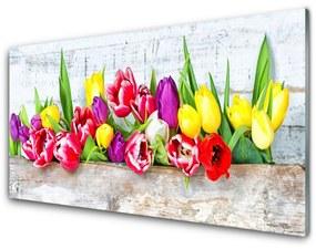 Sklenený obklad Do kuchyne Tulipány kvety príroda 100x50cm