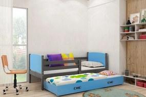 Posteľ s prístelkou TAMI 2 - 200x90cm - Grafitová - Modrá