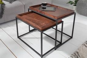 Drevený konferenčný stolík s táckou - mokka buk, set 2 ks