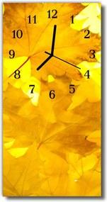 Sklenené hodiny vertikálne  Kvety jesenné žlté listy