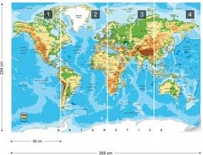 Fototapeta GLIX - World Map Atlas  + lepidlo ZADARMO Papírová tapeta  - 368x254 cm