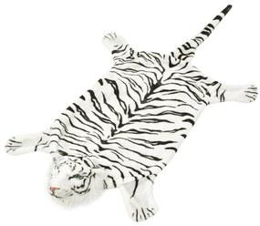 vidaXL Koberec v tvare tigra, plyšový 144 cm, biely