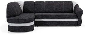 NABBI Belluno L rohová sedačka s rozkladom a úložným priestorom čierna / svetlosivá