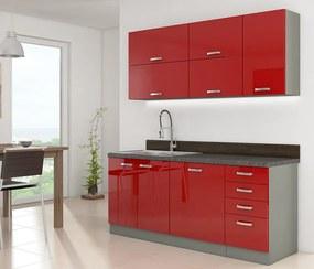 Malá červená kuchynská linka 180 cm HULK - Borovice bílá - 28 mm