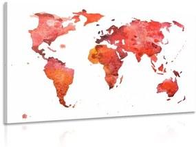 Obraz kontinenty v červených farbách
