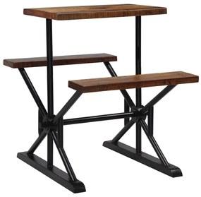 vidaXL Barový stôl s lavicami z recyklovaného dreva 80x50x107 cm