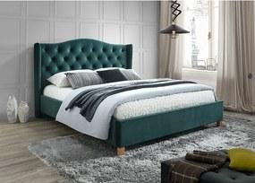 Zelená čalúnená posteľ ASPEN VELVET 160 x 200 cm Matrac: Matrac SOMNIA 17 cm