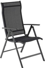 SONGMICS Hliníková záhradná stolička polohovateľná čierna nosnosť 150 Kg