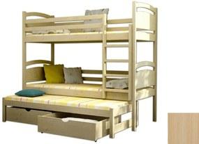 FA Petra 2 200x90 Poschodová posteľ s prístelkou Farba: Prírodná, Variant bariéra: S bariérou