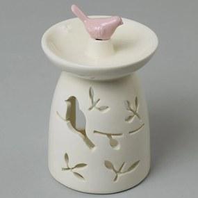 AROMALAMPA Keramická s vtáčikom smotanovo ružová