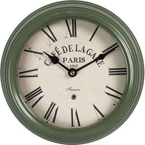 Vintage nástenné hodiny s rímskymi číslicami Cafe De La Gare - Ø 22 * 7 cm / 1 * AA