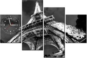 Tlačený obraz s hodinami Majestátna nočná Eiffelova veža 120x80cm ZP524A_4E