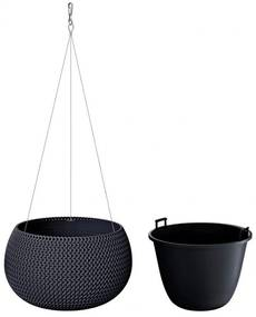 PROSPERPLAST SPLOFY Bowl WS závesný kvetináč 29 cm, antracit DKSP290WS