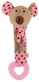 BABY MIX Nezaradené Detská pískacia plyšová hračka s hryzátkom Baby Mix myšky ružová Ružová  