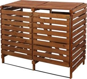 Drevený box na odpadové nádoby OBK-240L-2-FAREBNÉ VARIANTY Povrchová úprava: Hnedá
