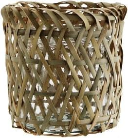 MADAM STOLTZ Bambusový obal na kvetináč Bamboo & Glass