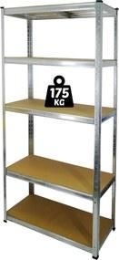 Kovový regál 180x90x40cm, 5 políc, nosnosť 875 kg