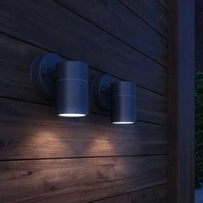 vidaXL Vonkajšie nástenné svietidlá, 2 ks, nerezová oceľ, dolné osvietenie