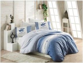 Modré obliečky z ranforce bavlny na jednolôžko BHPC Marsa, 140 × 200 cm