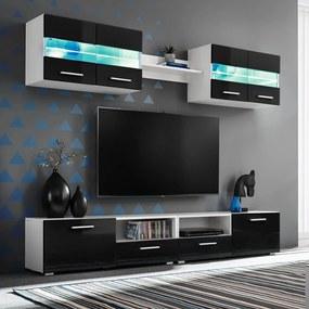 vidaXL Obývacia stena 5-dielna s LED osvetlením, vysoko-lesklá, čierna