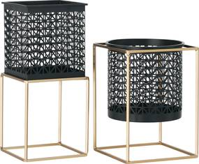 Stojany na kvetináče, set 2 ks, hranatý/okrúhly, čierna/zlatá, ESME SET