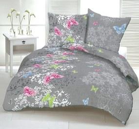 Obliečky bavlnené Butterfly garden TiaHome 1x Vankúš 90x70cm, 1x Paplón 140x200cm