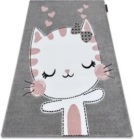 Koberec PETIT KITTY MAČKA sivý - 80x150 cm