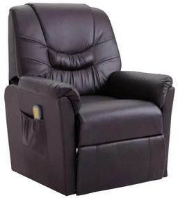 vidaXL Sklápacie masážne kreslo, hnedé, umelá koža