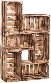 Drevobox Drevené opálené debničky knižnica 62x102x20 cm